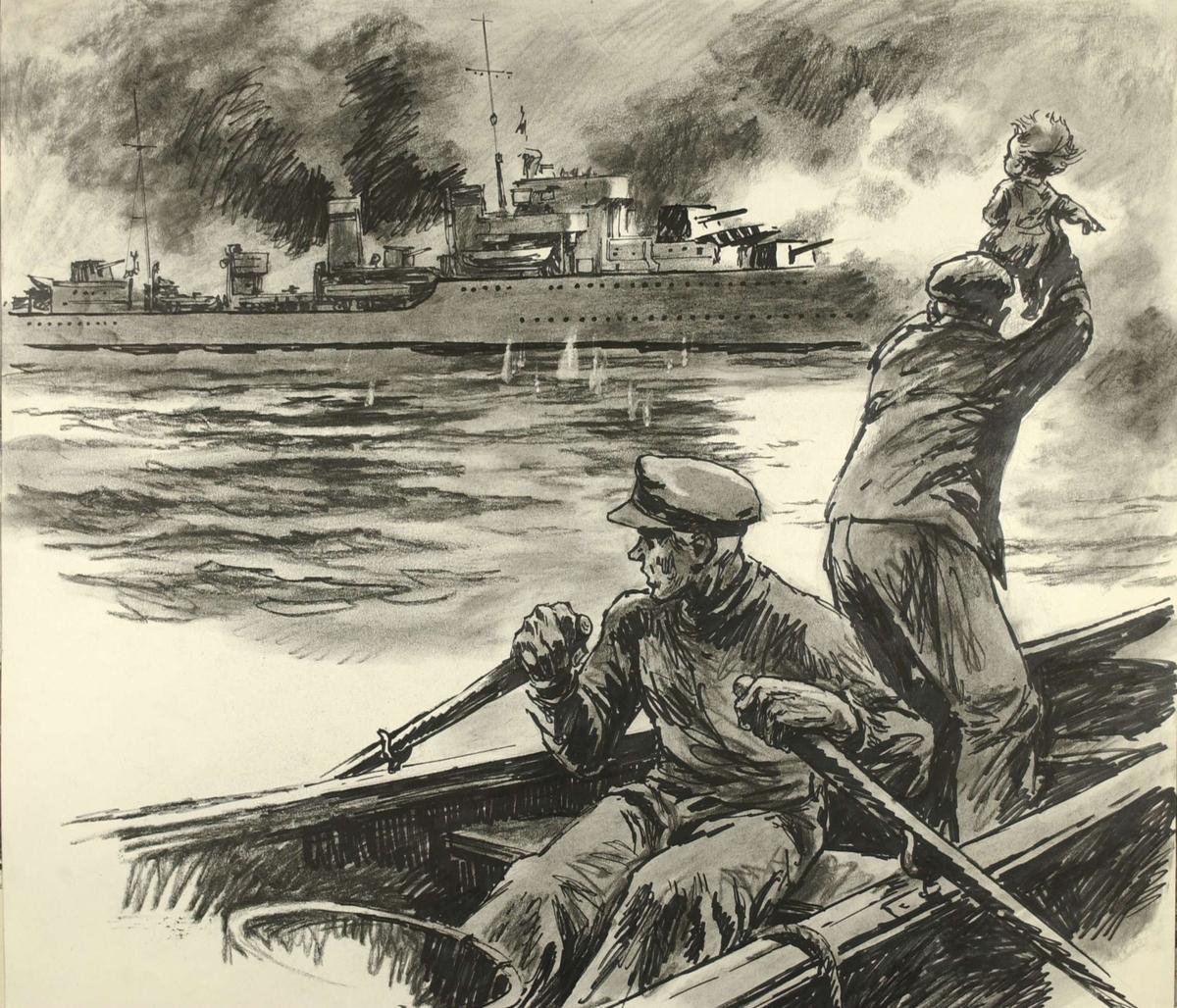Sivile fra Bjerkvik prøver å stoppe bombardementet etter at tyskerne har trukket seg tilbake. Kampene i Norge 1940, bind 2, side 239.