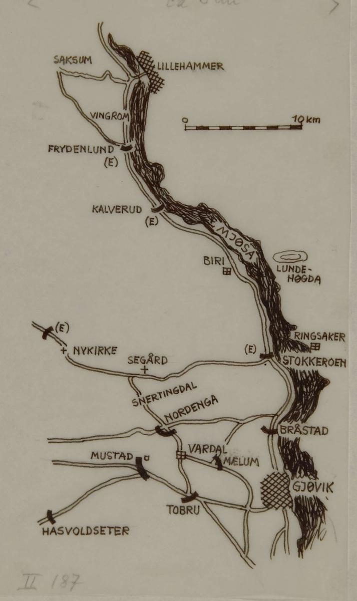 Kart over området Lillehammer - Lundehøgda - Gjøvik.