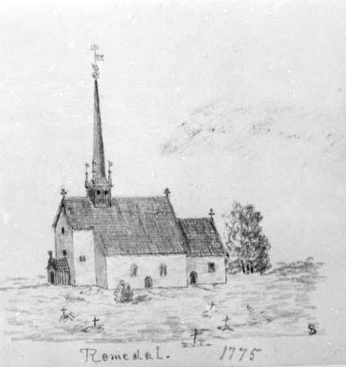 Tegning, Romedal kirke 1775, Gerhard Schønning.