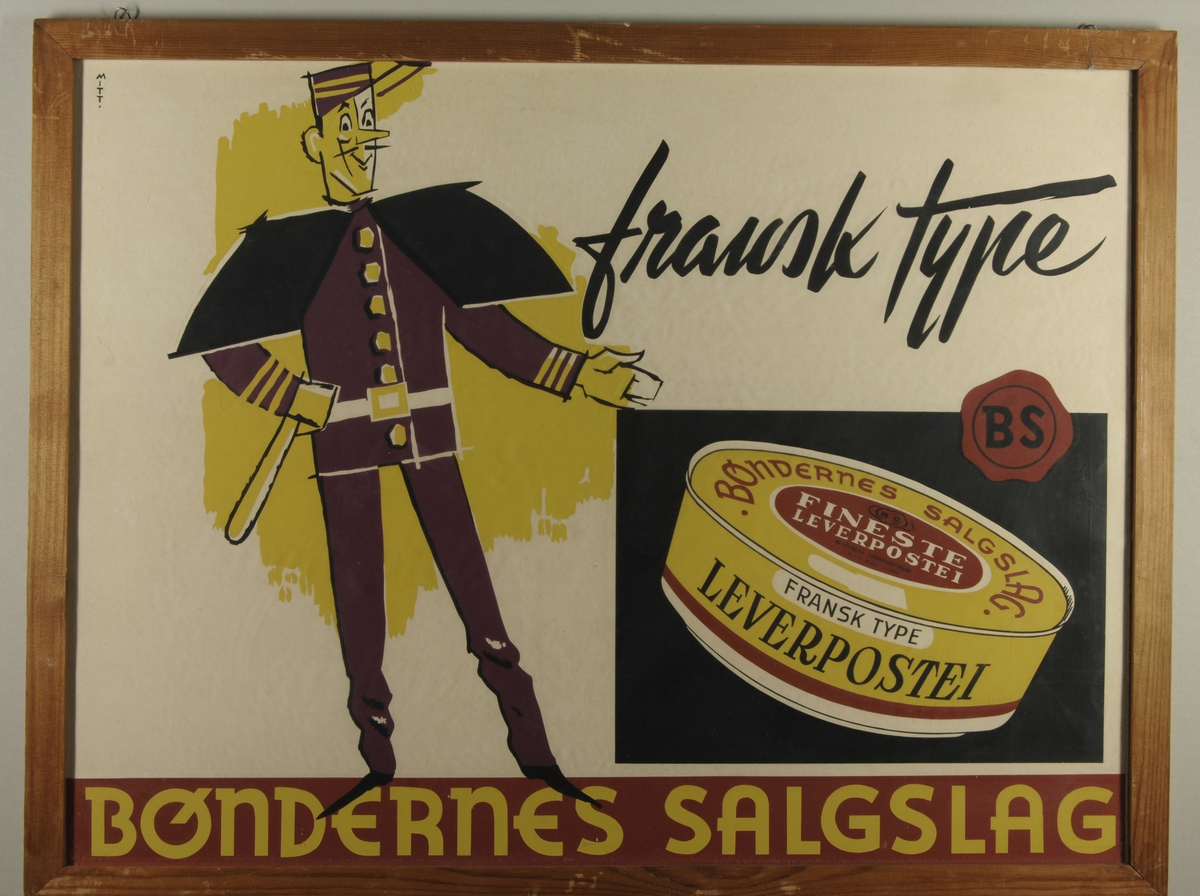 En illustrert franskmann reklamerer for leverpostei av fransk type.