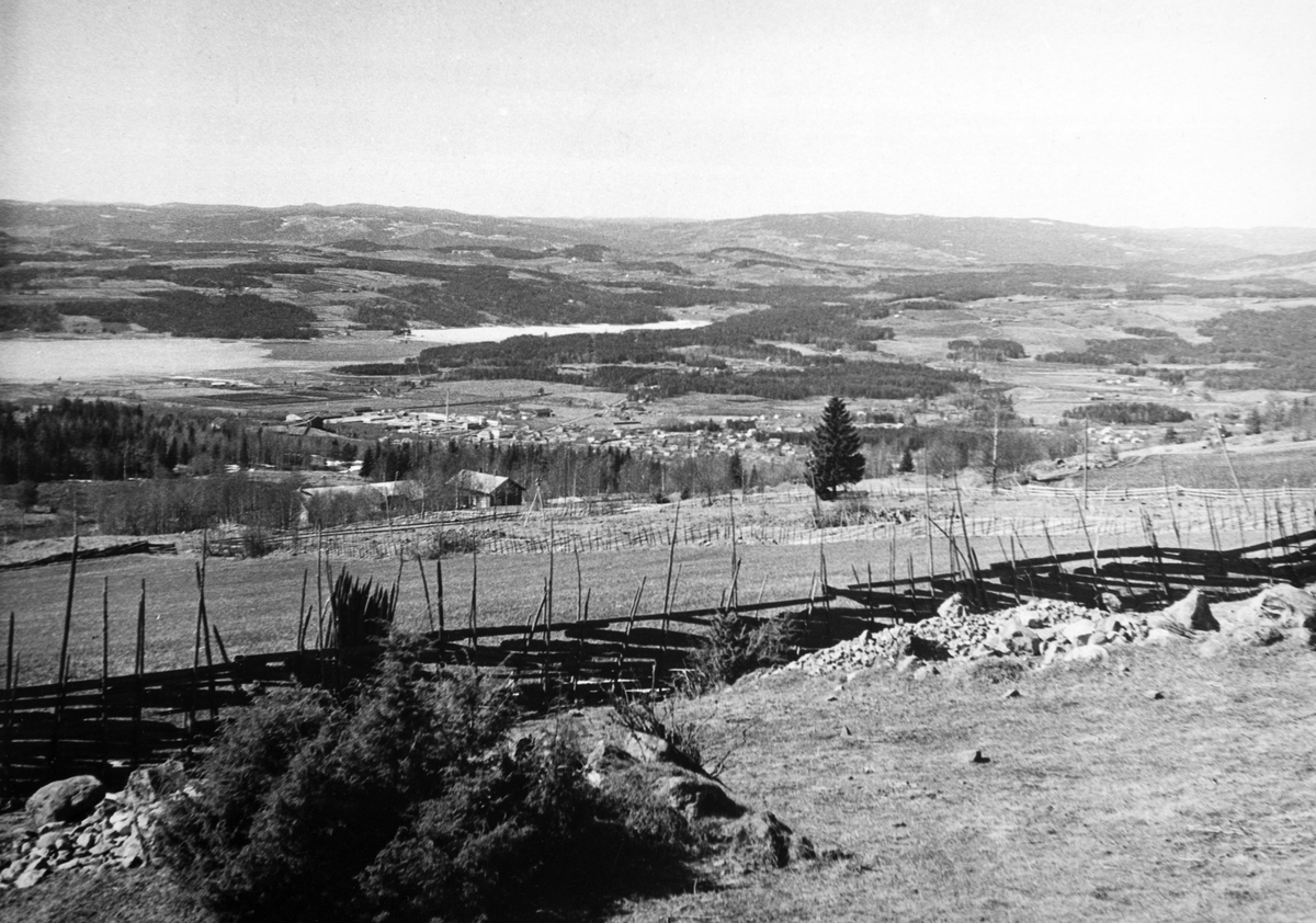 Utsikt mot Brumunddal, landskap. Skigard.