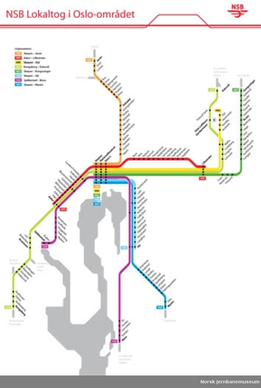 Rutekart : Lokaltog i Oslo-området
