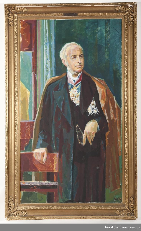 Maleri i ramme av jernbanedirektør Carl Abraham Pihl. Jernbanedirektør til 1897