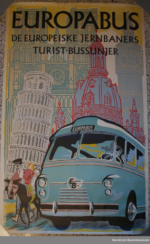Reklameplakat: Europasbus - De europeiske jernbaners turistbusslinjer