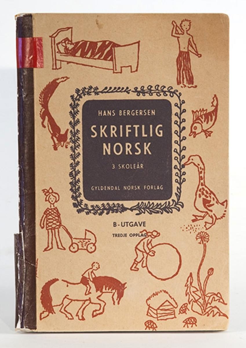 Læærebok for 3. skoleår. Skriftlig norsk, Hans Bergersen. Gyldendal forlag.