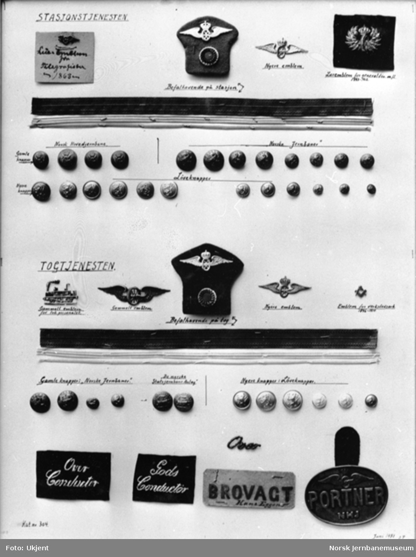 Luemerker og knapper for stasjons- og togtjenesten