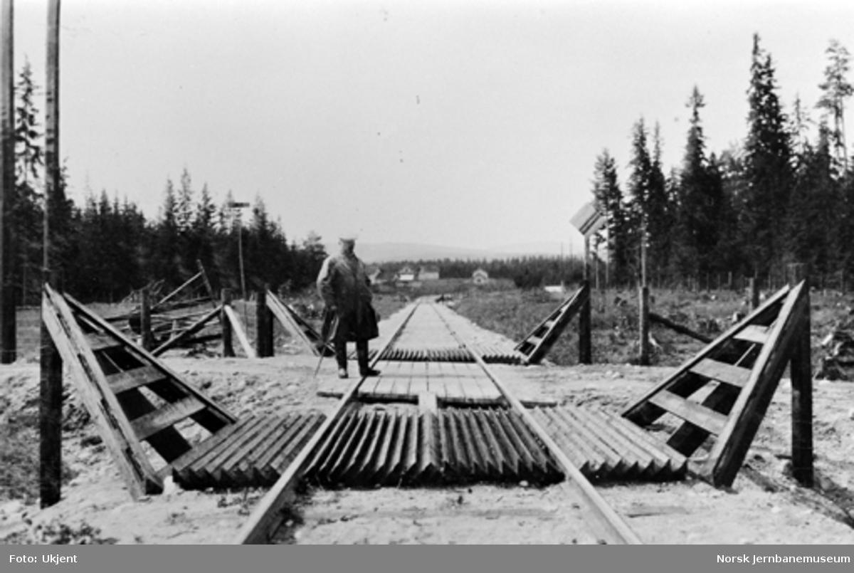 Ingeniør Fogth inspiserer kufanger mot hovedvegen i søndre ende av Hallingby stoppested