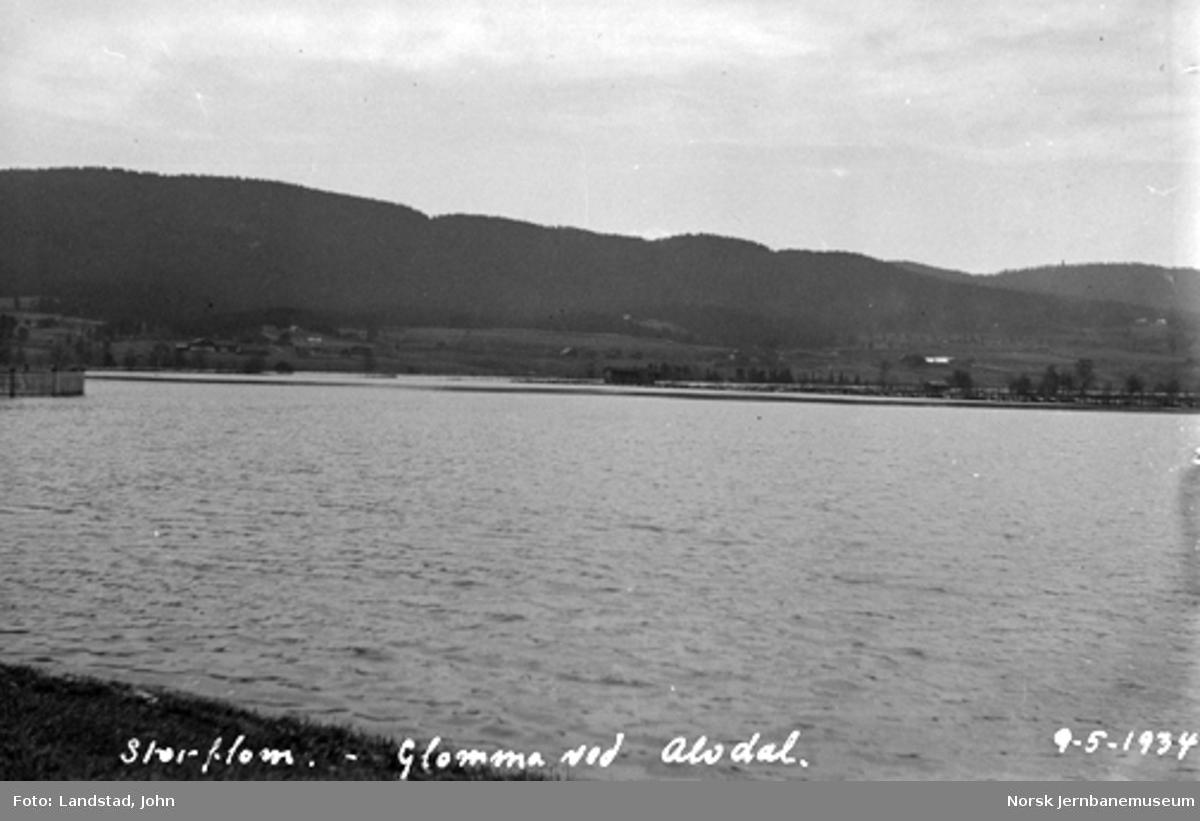 Flom i Glomma: Utsikt over Glomma mot Alvdal
