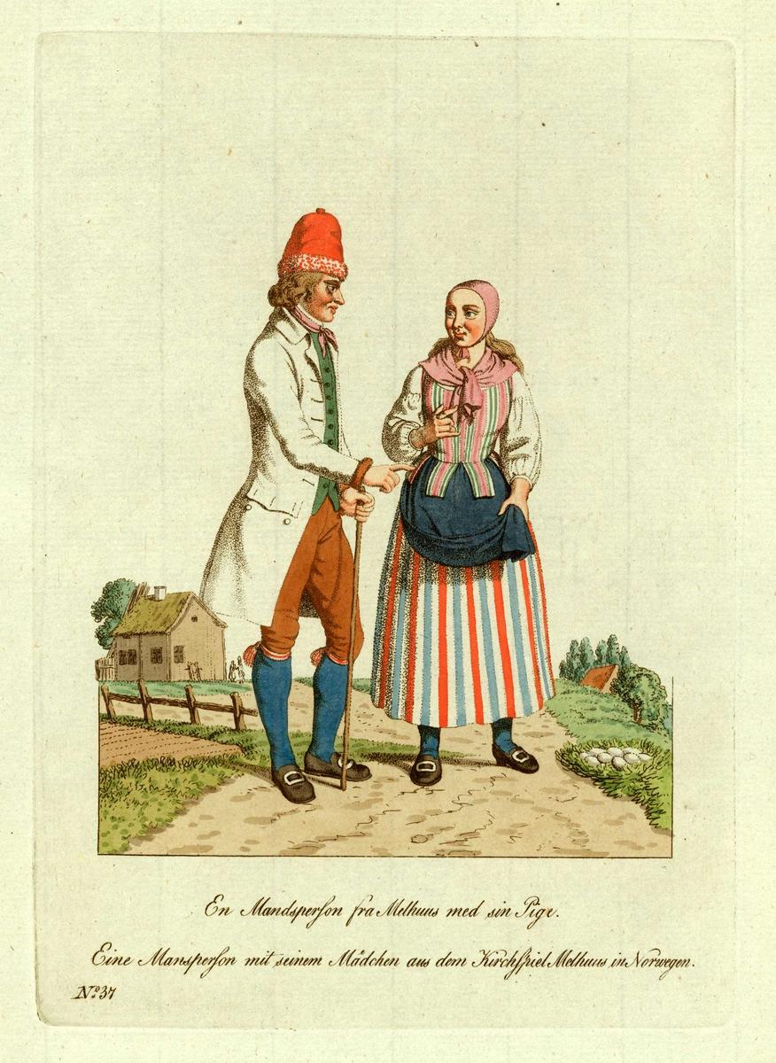 Mann og kvinne (jente) i folkedrakter fra Melhus, Sør-Trøndelag, han med en vandrestav i hånden.
