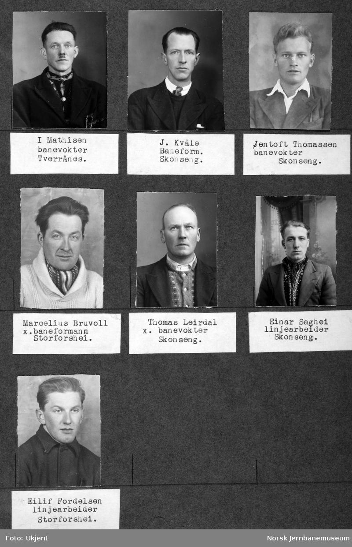 Personalbilder fra Mo i Rana stasjon : baneformennene Kvåle og Bruvoll, banevokterne Mathisen, Thomassen og Leirdal og linjearbeiderne Saghei og Fordelsen.