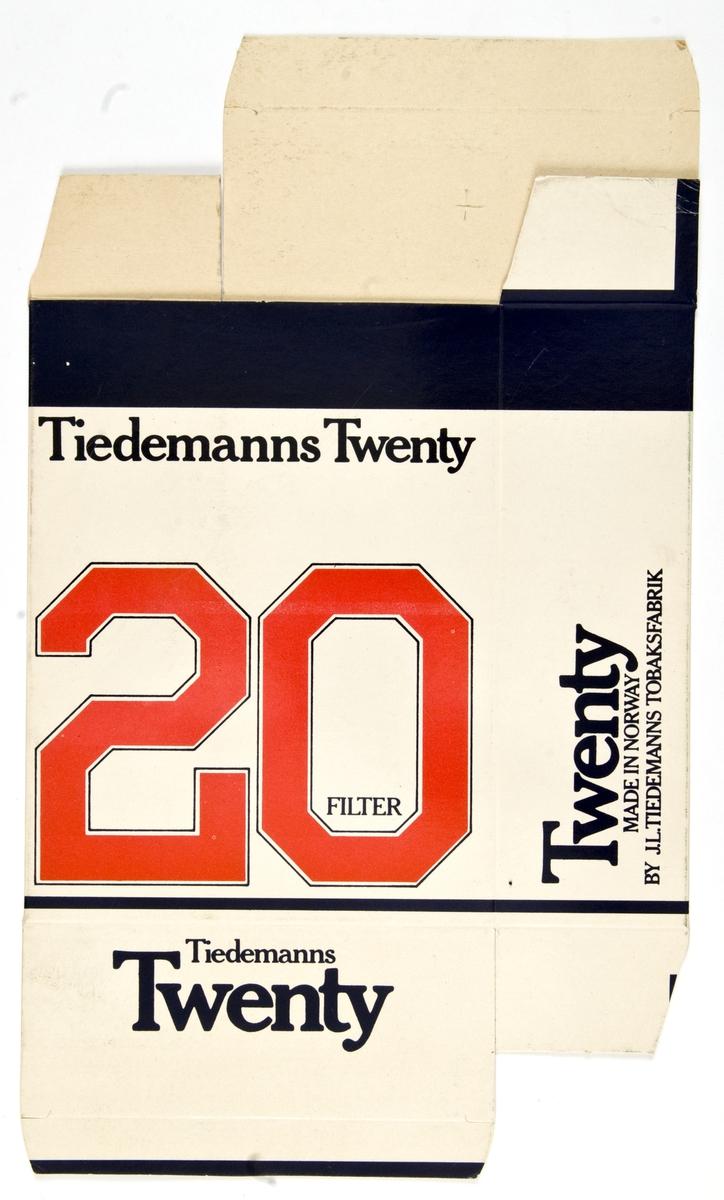 Reklameskilt for Tiedemanns Twenty tobakk.