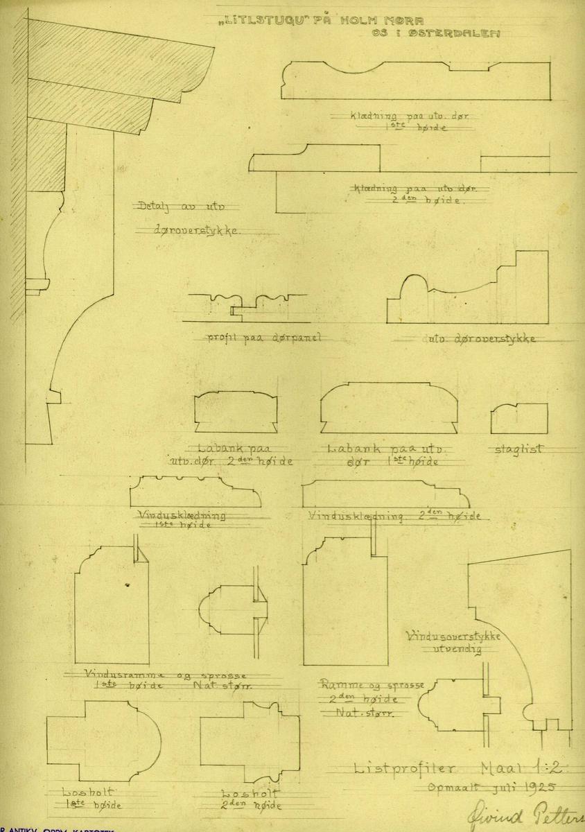 "Øivind Pettersens tegning (9125) av listprofiler i ""Litlstugu"", Holm, Os i Hedmark."