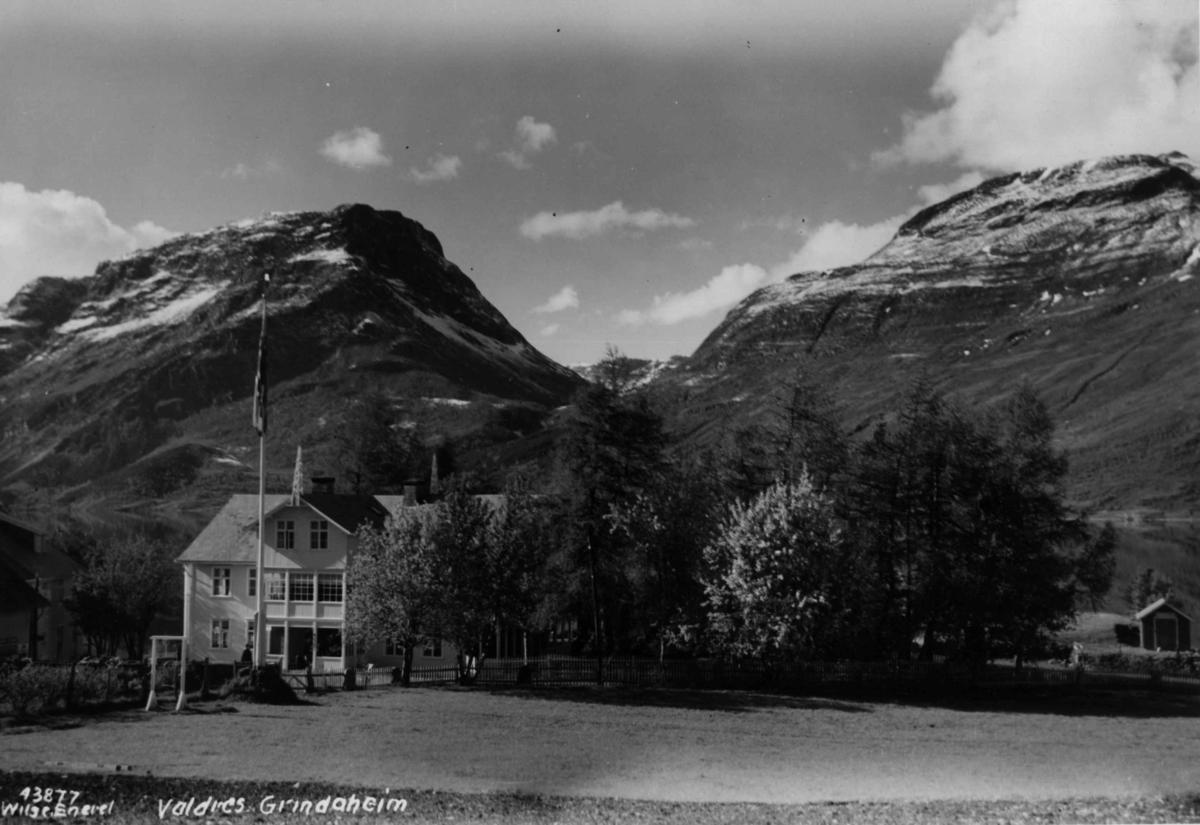 Landskap, fjellet t.v. er Skutshorn (Skudshorn), Vang, Oppland, t.h. sees litt av Vennisfjell, med Sanddalen mellom.