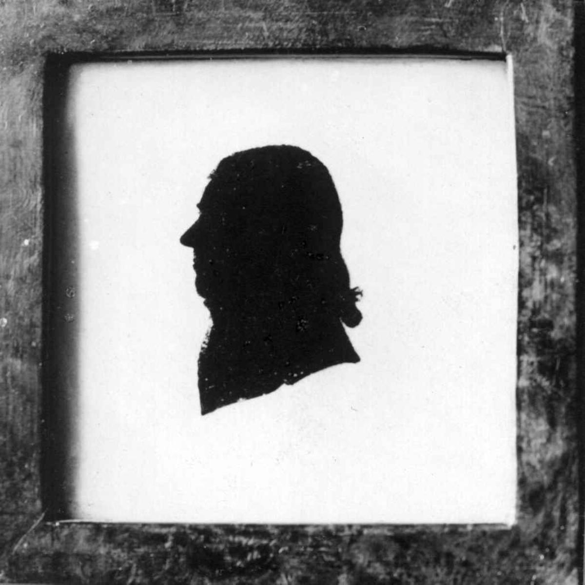 Portrett av Johan Lorentz Spørck. Antakelig slottsforvalter på Frederiksborg Slott. Avfotografert sihuettklipp.