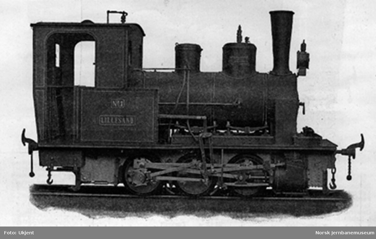 "Leveransefoto av Lillesand-Flaksvatnbanens damplokomotiv nr. 1 ""Lillesand"" ved levering fra Sächsische Maschinenfabrik i Chemnitz"